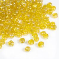 "6/0 Yellow AB Glass Seed Beads Round Rocailles  4mm( 1/8"") Dia, Hole: 1mm"